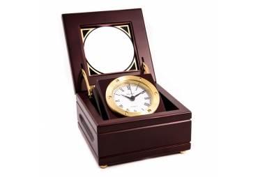 Solid Brass Gimbal Clock in Mahogany Box