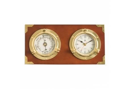 Two Porthole Quartz Clock and Barometer on Teak Finished Wood. Wall mounts horizontally.