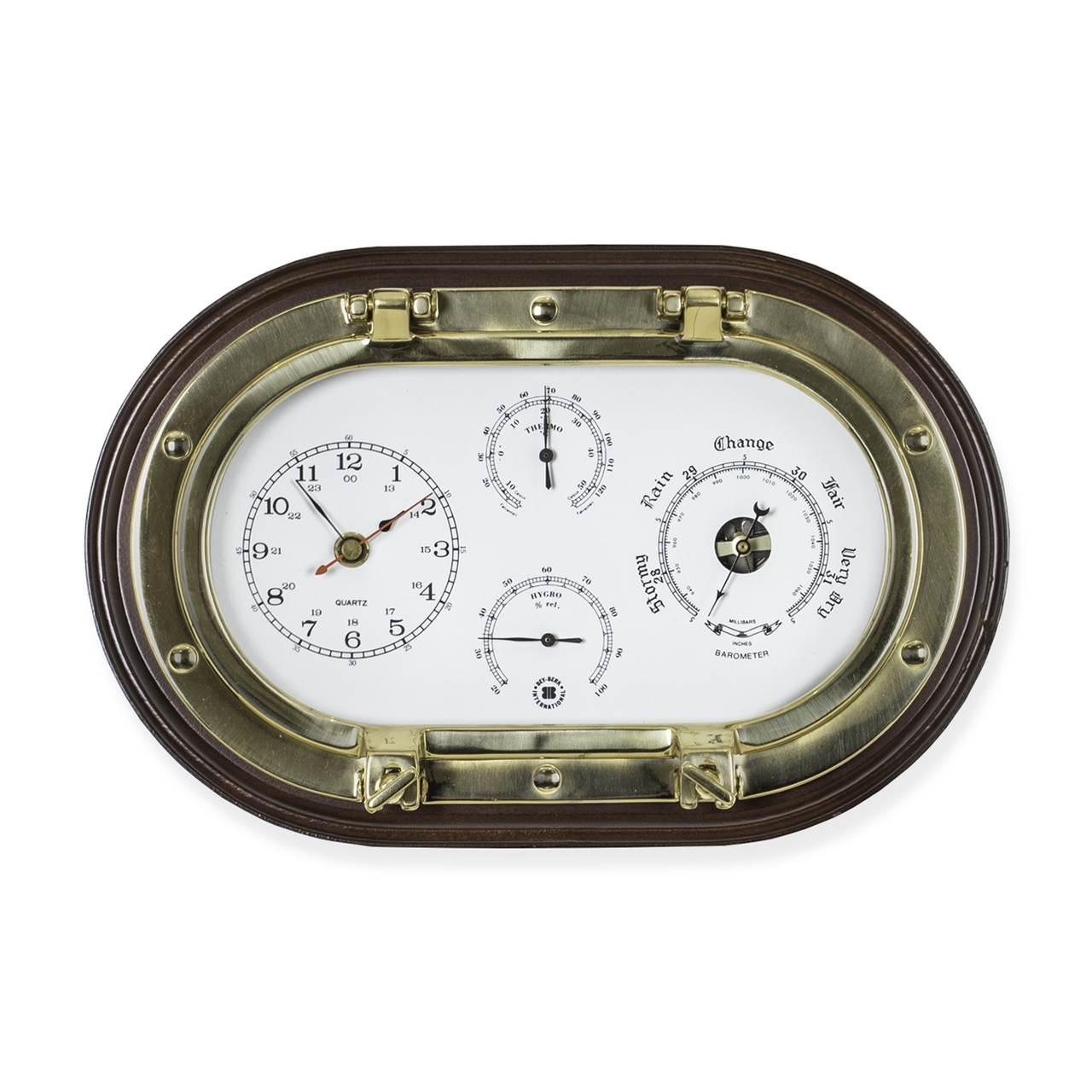 Br Porthole Clock Barometer Thermometer Hygrometer On Mahogany Plaque Jpg