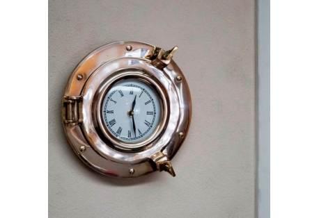 "Brass Porthole Clock, 9"""