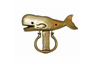 Handcrafted Solid Brass Whale Door Knocker