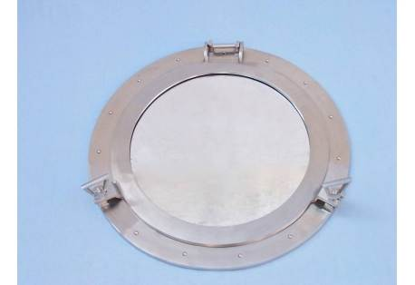 """Brushed Nickel Large Classic Decorative Ship Porthole Mirror 24"""""""