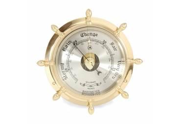 Solid Brass Ship's Wheel Barometer