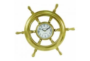 "Solid Brass Ship Wheel Clock 18"""