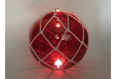 """Tabletop LED Lighted Red Japanese Glass Ball Fishing Float with White Netting Decoration 10"""""""