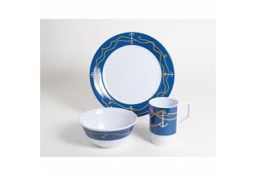 Anchorline Melamine Nautical 12 Piece Dinnerware Gift Set