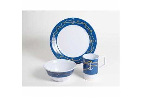 Anchorline Melamine 16 Piece Dinnerware Gift Set