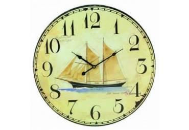 """Wooden Vintage Schooner Clock 23"""""""