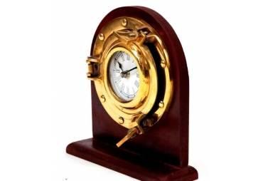 Brass Porthole Desk Clock