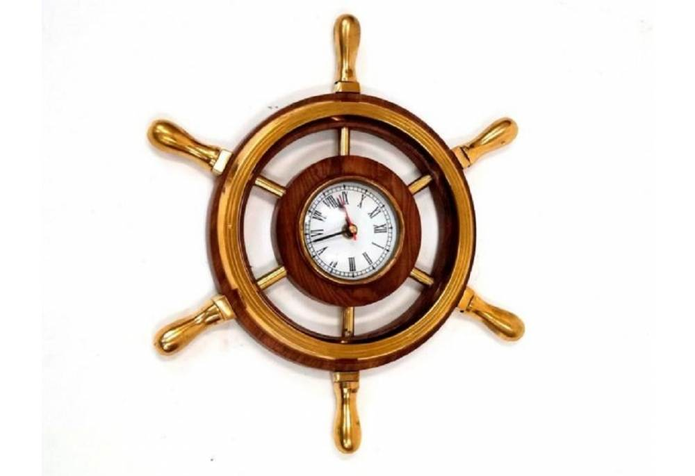 12 Quot Wooden Ship Wheel Clock With Brass Handles Nautical