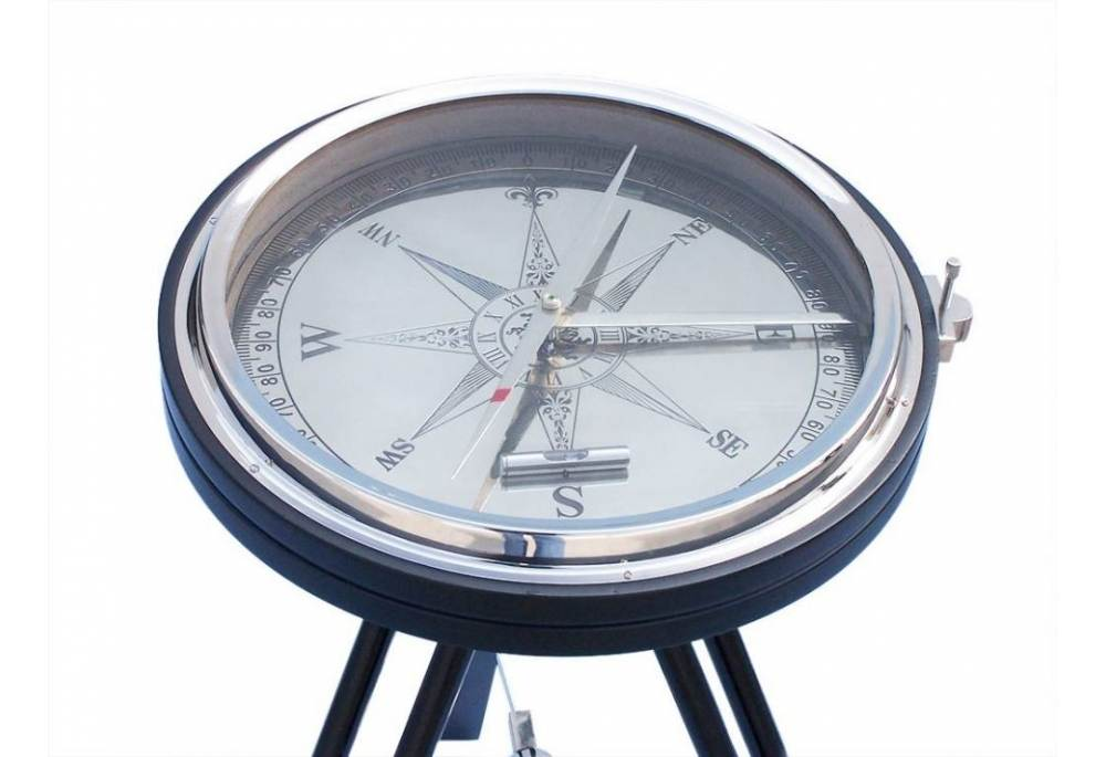 Chrome With Black Stand Adjustable Hight Compass Table