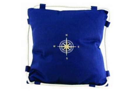 """Navy Blue Compass Pillow 15"""""""