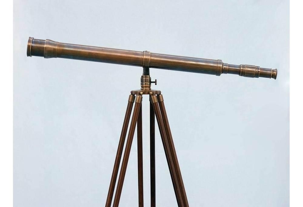 Antique Brass Galileo Floor Standing Telescope
