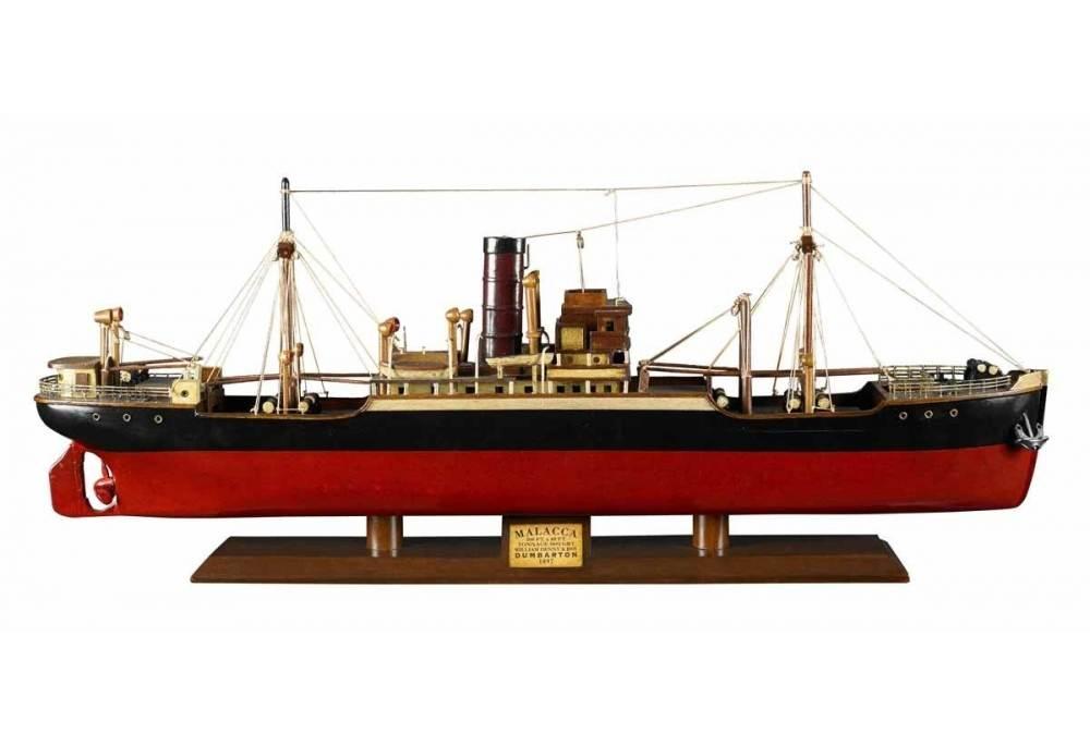 1897 Steamer Wooden Cargo Ship Model Malacca Tramp