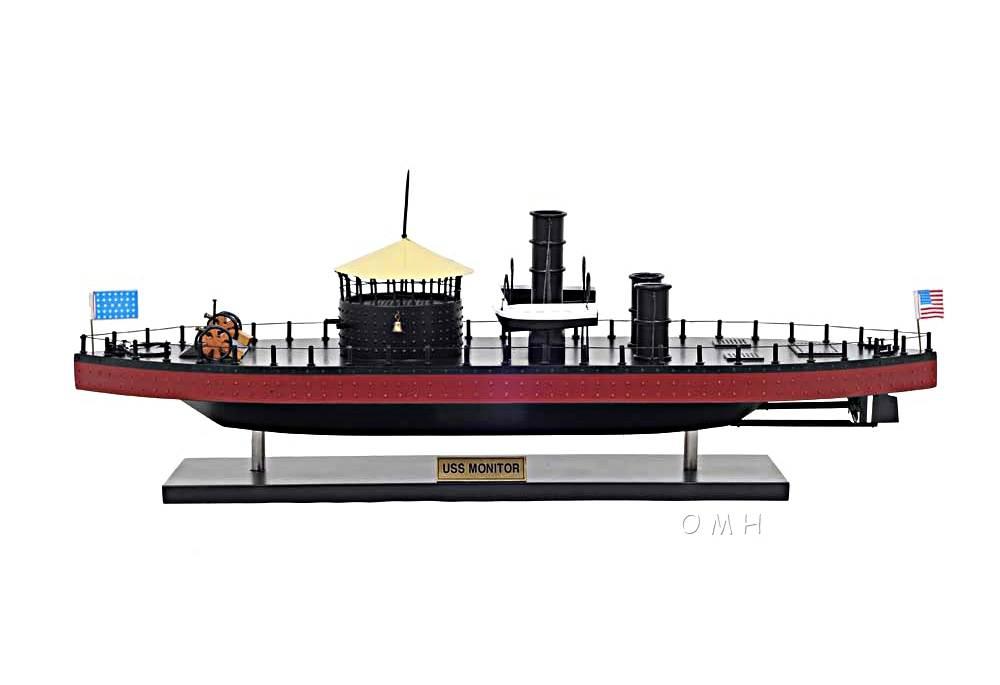 U S S Monitor Ironclad Warship Wooden Model