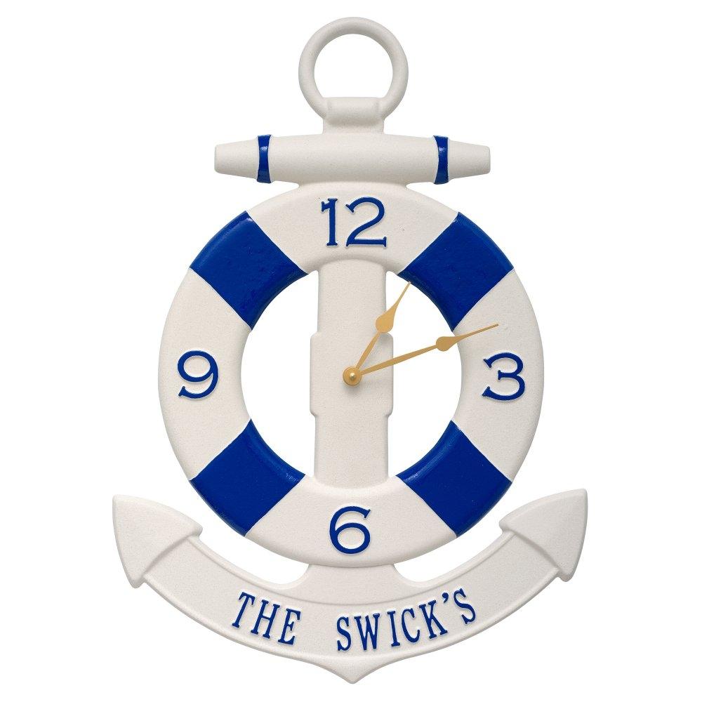 Personalized anchor clock nautical wall decor gonautical amipublicfo Images