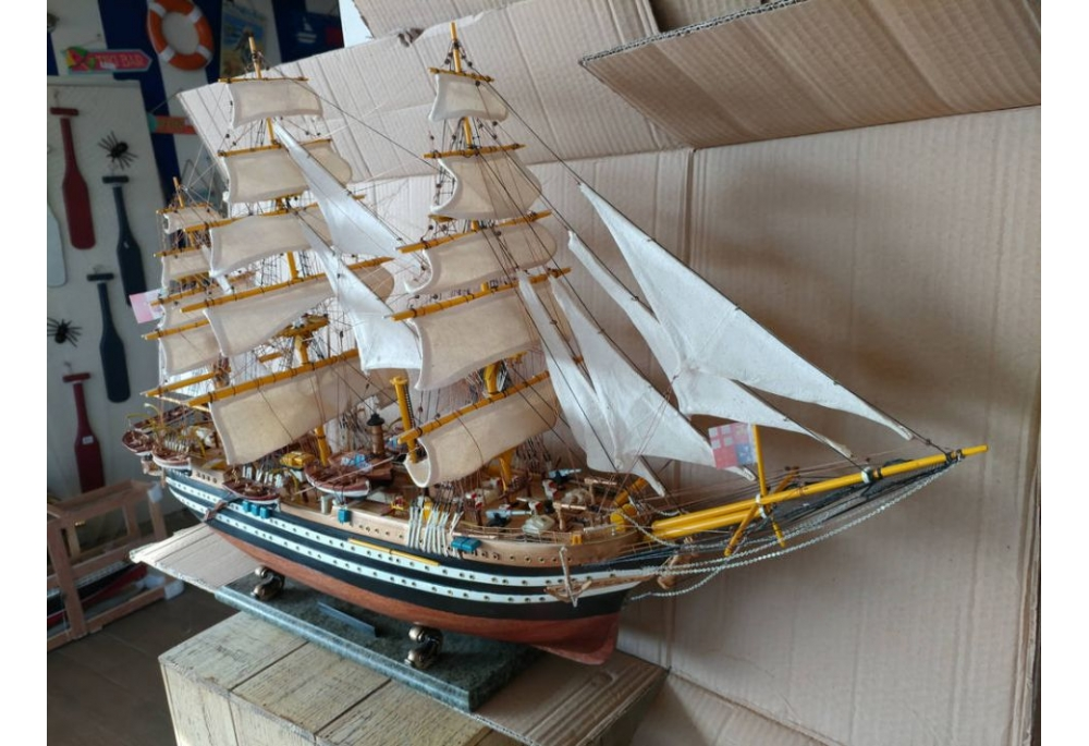 Large Amerigo Vespucci Tall Ship Wooden Scaled Model Ship