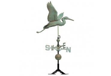 Antique Copper Heron Weathervane