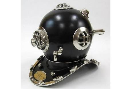 """Solid Chrome Mark V Black Divers Helmet 17"""""""