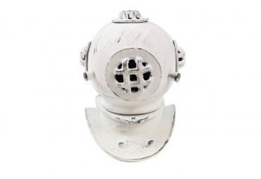 "Aged White Cast Iron Decorative Divers Helmet 9"""