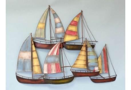 "Metal Colorful Wall Decor Sailboats 34"""