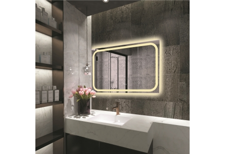 SPECULO, a Contemporary style Dimmable, Back lit LED 4000K mirror features a touch screen power button