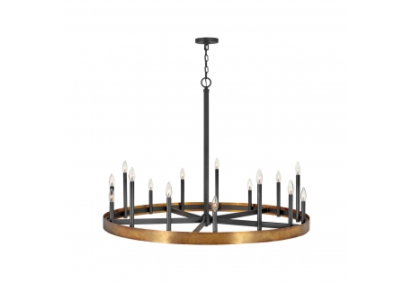 Coastal Brass/Black Chandelier Ceiling Light