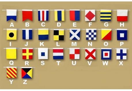 """Set of 26 - Decorative Cloth Nautical Alphabet Flags 20"""""""