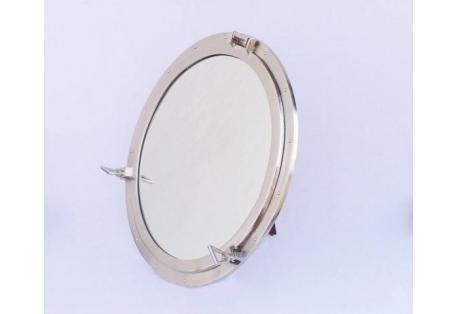 """Large Brushed Nickel Decorative Ship Porthole Mirror 30"""""""