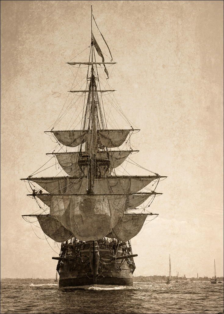 Tall Ship Black and White Old Picture